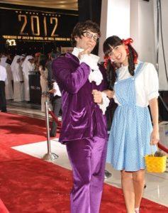 Film characters on red carpet at Reel Cinemas