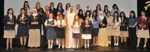Sheikh Nahayan and Mr. Sunny Varkey with the 27 female awardees who won the Sheikha FAtima Bint Mubarak Award for Excellence today at GEMS Dubai MOdern High School.