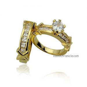 Shining 18KGP AAA Zirconia Ring Set