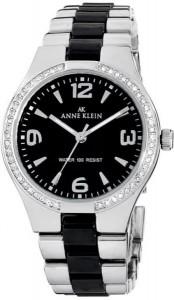 Anne Klein Women's 109119BKSV Swarovski Crystal-Accented Silver-Tone Black Ceramic Dress Watch