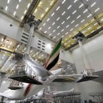 A unique look into Emirates' aircraft paint hangar, the world's largest owned by an airline