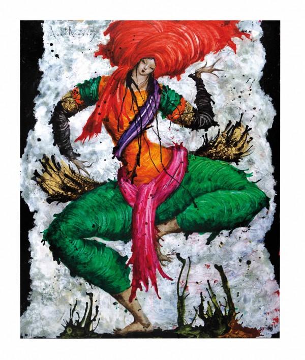 Roc-Roussey's Apsara au turban Rouge - Art - Painting