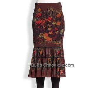 Jean Paul Gaultier Floral Tiered Mesh Midi Skirt