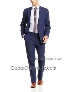 Tommy Hilfiger Men's Cashman Pin Stripe 2 Button Side Vent Suit w: Flat Front Pant