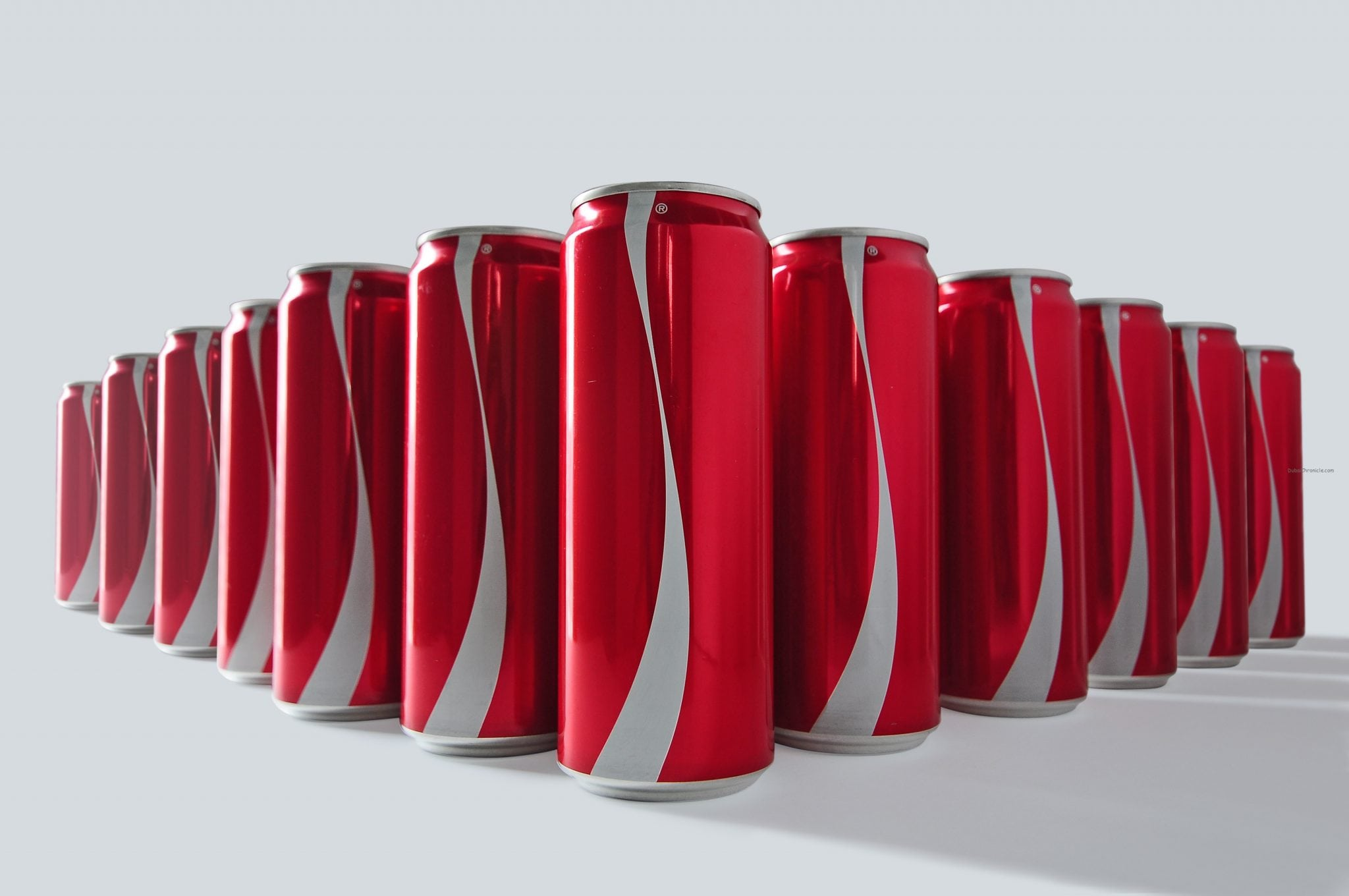 Row of no label cans