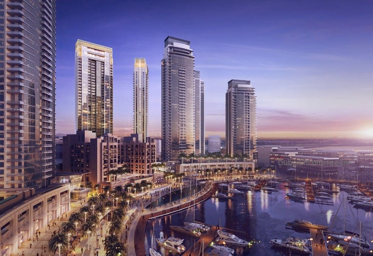 'Creekside 18' residences view in The Island District of Dubai Creek Harbour