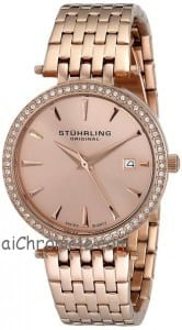 Stuhrling Original Women's 579.04 Soiree Swarovski Crystal-Accented Rose Gol