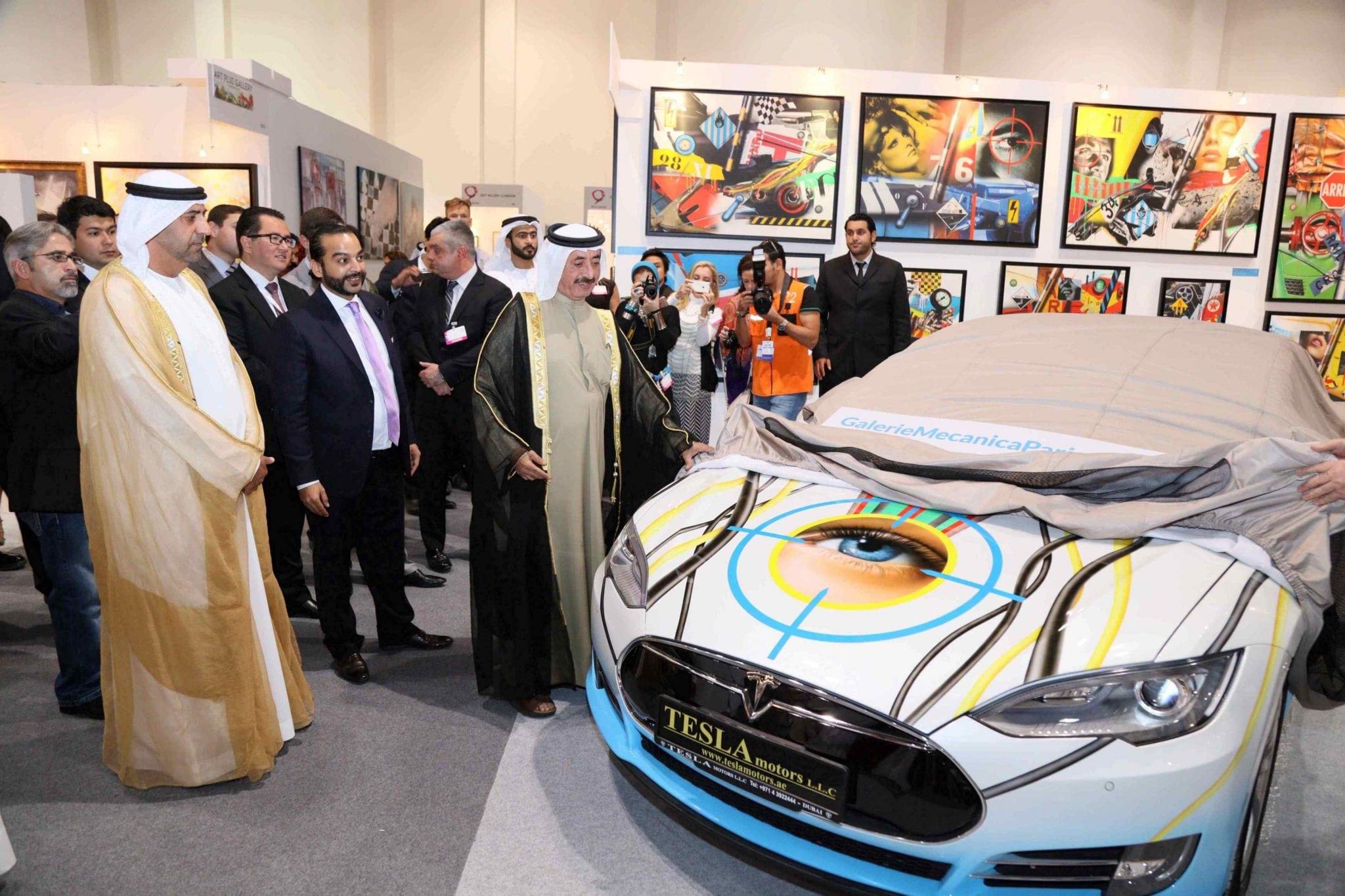 Tesla Art Car Unveiled at World Art Dubai