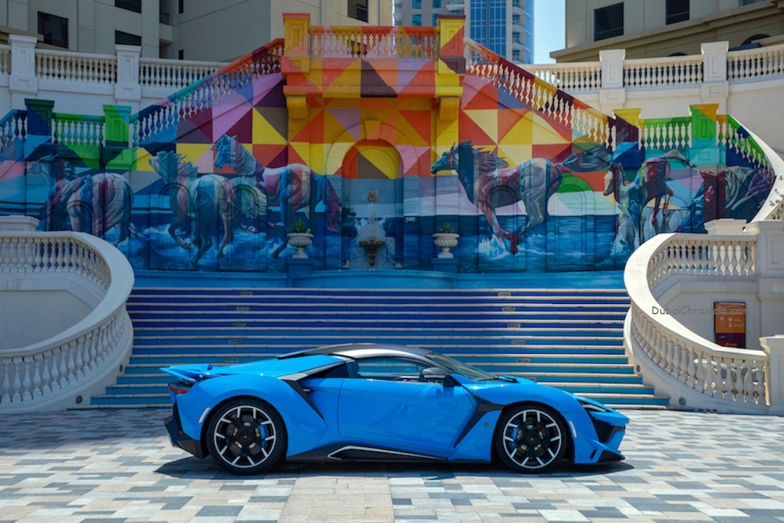 The unique supercar, which can be viewed on the 1.2km promenade at Rimal