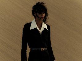 A women wearing Saint Laurent's summer collection